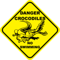 Crocodiles, no swimming